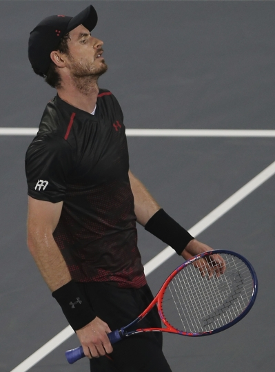 Great Britain's Andy Murray reacts in a match against Spain's Roberto Bautista Agut during the second day of the Mubadala World Tennis Championship in Abu Dhabi, United Arab Emirates, Friday, Dec. 29, 2017. (AP Photo/Kamran Jebreili)