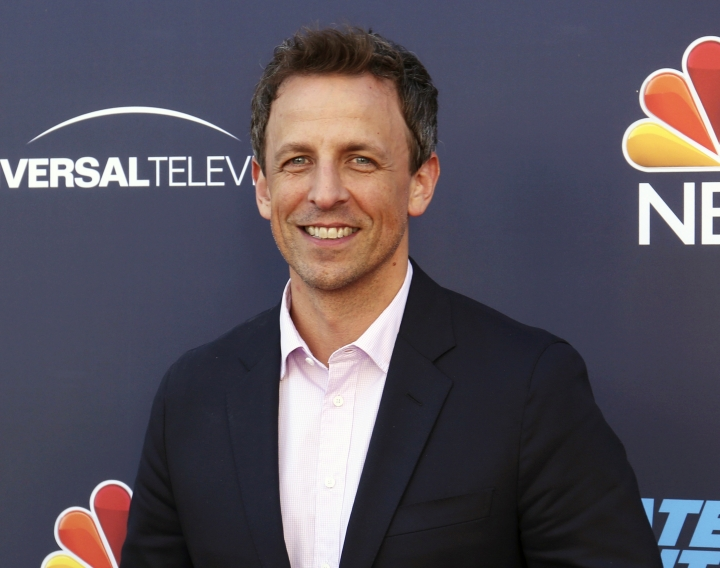 "FILE - In this May 19, 2017, file photo, Seth Meyers arrives at the ""Late Night with Seth Meyers"" FYC event in Los Angeles. Meyers will host the 75th Golden Globe Awards on Sunday, Jan. 7, 2018, on NBC. (Photo by Willy Sanjuan/Invision/AP, File)"