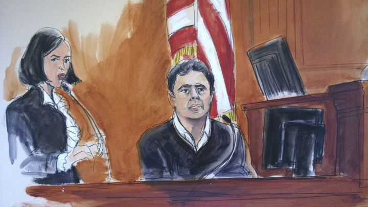FILE- In this Dec. 15, 2017 courtroom artist's sketch, defendant Mehmet Atilla, right, testifies during his trial on corruption charges in New York. The Turkish banker accused of helping Iran evade U.S. sanctions has been convicted Wednesday, Jan. 3, 2018, by a jury in New York, after a trial that sowed distrust between the two nations. He was convicted of four conspiracy counts, including conspiracy to defraud the United States, plus one bank fraud count. He was acquitted of a money laundering charge. (Elizabeth Williams via AP, File)