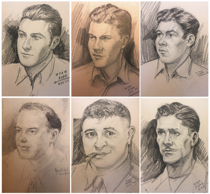 These sketches provided by Ira Dube of U.S. Army 27th Infantry Division soldiers were among more than a dozen done by his father, Stan Dube, during World War II. Ira Dube, found them stashed in the attic of his sister's home. Now Ira Dube is hoping to identify the men, so he has donated 15 sketches to the New York State Military Museum and Veterans Research Center in Saratoga Springs. (Stan Dube/Ira Dube via AP)