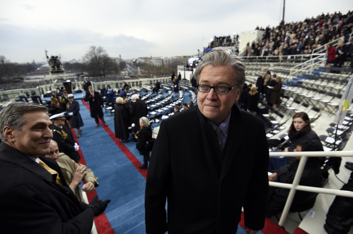 "FILE - In this Jan. 20, 2017, file pool photo, Steve Bannon, appointed chief strategist and senior counselor to then- President-elect Donald Trump, arrives for the presidential inauguration at the US Capitol in Washington. Trump returned fire with both barrels Jan. 3, 2018, against criticism leveled at him in a new book that says he never expected — or wanted — to win the White House, his victory left his wife in tears and a senior adviser thought his son's contact with a Russian lawyer during the campaign was ""treasonous."" (Saul Loeb, Pool via AP)"