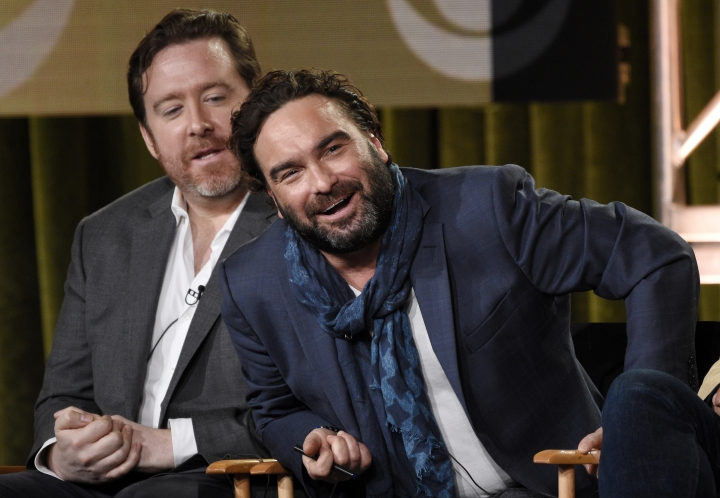 "Johnny Galecki, right, co-executive producer of the new CBS series ""Living Biblically,"" takes part in a panel discussion on the show with co-executive producer Patrick Walsh at the Television Critics Association Winter Press Tour on Saturday, Jan. 6, 2018, in Pasadena, Calif. (Photo by Chris Pizzello/Invision/AP)"