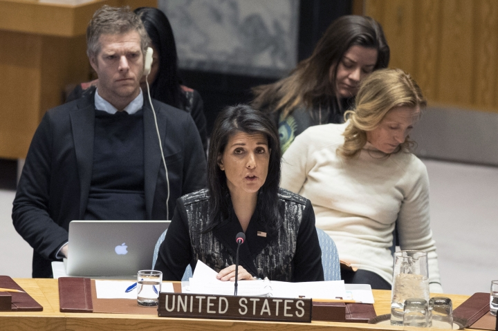 American Ambassador to the United Nations Nikki Haley speaks during a Security Council meeting on the situation in Iran, Friday, Jan. 5, 2018 at United Nations headquarters. (AP Photo/Mary Altaffer)