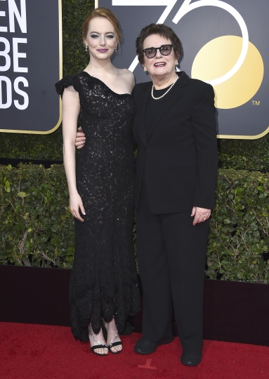 Emma Stone, left, and Billie Jean KIng arrive at the 75th annual Golden Globe Awards at the Beverly Hilton Hotel on Sunday, Jan. 7, 2018, in Beverly Hills, Calif. (Photo by Jordan Strauss/Invision/AP)