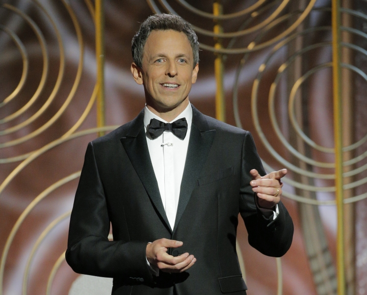 This image released by NBC shows host Seth Meyers at the 75th Annual Golden Globe Awards at the Beverly Hilton Hotel in Beverly Hills, Calif., on Jan. 7, 2018. (Paul Drinkwater/NBC via AP)