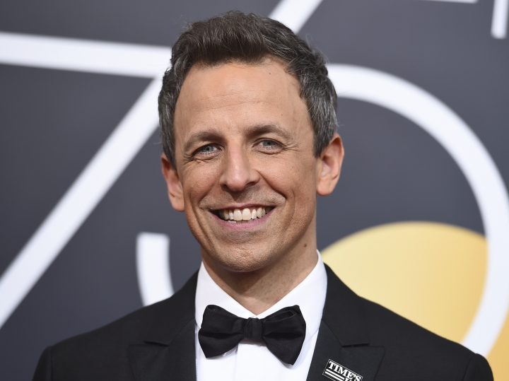 Seth Meyers arrives at the 75th annual Golden Globe Awards at the Beverly Hilton Hotel on Sunday, Jan. 7, 2018, in Beverly Hills, Calif. (Photo by Jordan Strauss/Invision/AP)