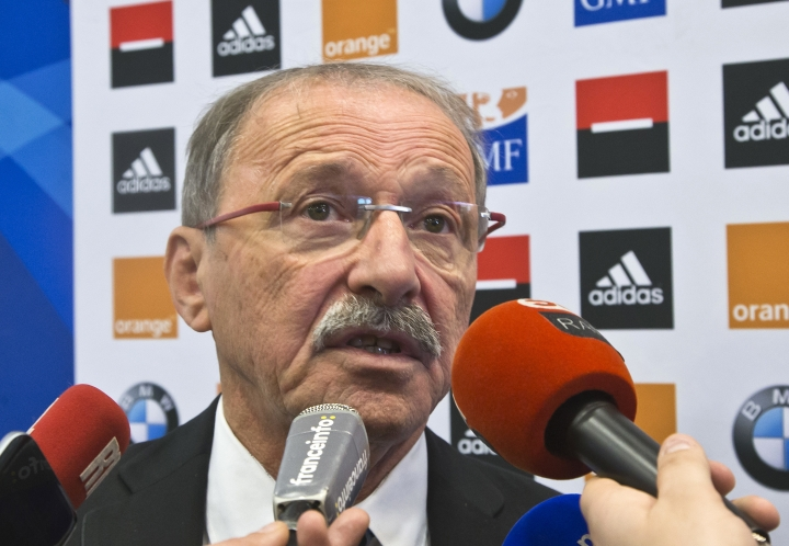 """New France rugby coach Jacques Brunel speaks to reporters during a media conference at the National Rugby Center in Marcoussis, south of Paris, France, Monday Jan. 8, 2018. Brunel, who replaced Guy Noves last month, said during his first press conference on Monday that his ambition is """"to put France back to the level where it often was, so it will be among the Six Nations contenders every year."""" (AP Photo/Michel Euler)"""