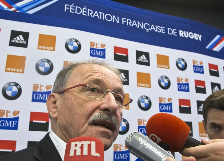 "New France rugby coach Jacques Brunel speaks to reporters during a media conference at the National Rugby Center in Marcoussis, south of Paris, France, Monday Jan. 8, 2018. Brunel, who replaced Guy Noves last month, said during his first press conference on Monday that his ambition is ""to put France back to the level where it often was, so it will be among the Six Nations contenders every year."" (AP Photo/Michel Euler)"
