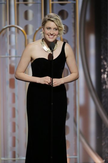 This image released by NBC shows presenter Greta Gerwig at the 75th Annual Golden Globe Awards in Beverly Hills, Calif., on Sunday, Jan. 7, 2018. (Paul Drinkwater/NBC via AP)