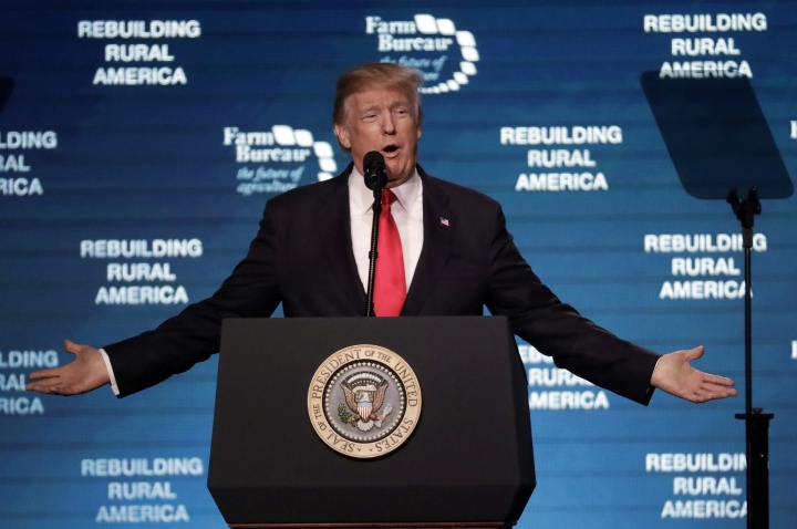 President Donald Trump speaks at the American Farm Bureau Federation annual convention Monday, Jan. 8, 2018, in Nashville, Tenn. (AP Photo/Mark Humphrey)