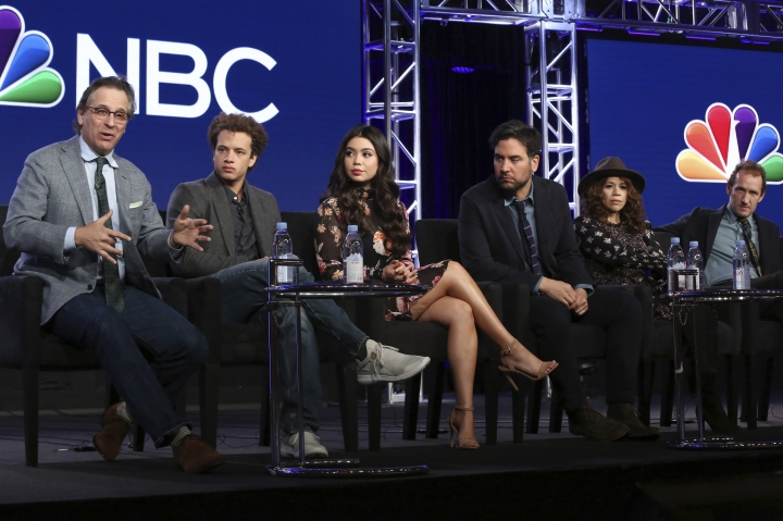 "Executive Producer Jason Katims, from left, members of the cast Damon J. Gillespie, Auli'i Cravalho, Josh Radnor, Rosie Perez and Executive Producer Jeffrey Seller participate in the ""Rise"" panel during the NBCUniversal Television Critics Association Winter Press Tour on Tuesday, Jan. 9, 2018, in PAsadena, Calif. (Photo by Willy Sanjuan/Invision/AP)"