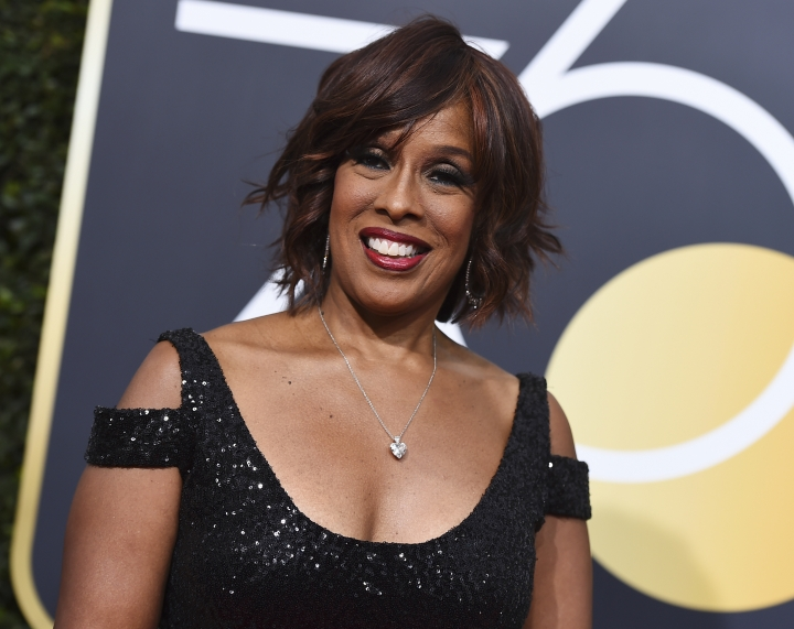 """FILE - In this Jan. 7, 2018, file photo, Gayle King arrives at the 75th annual Golden Globe Awards at the Beverly Hilton Hotel in Beverly Hills, Calif. If Oprah Winfrey runs for president, CBS News faces a potential conflict of interest with its morning show host King, famously Winfrey's best friend. Her colleagues on """"CBS This Morning"""" interviewed King on Tuesday's show about what her friend was thinking. CBS says it has been transparent about the relationship and said it would address a potential conflict if one arises. (Photo by Jordan Strauss/Invision/AP, File)"""