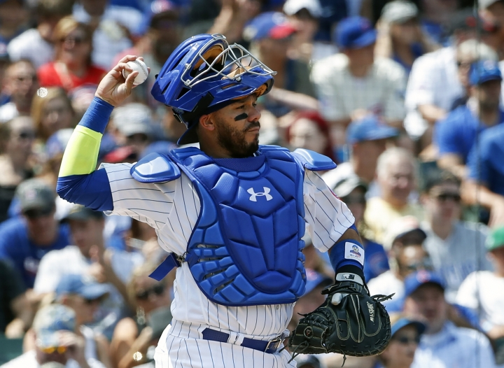 FILE - In this Aug. 20, 2017, file photo, Chicago Cubs' Rene Rivera is shown during the third inning of a baseball game against the Toronto Blue Jays, in Chicago. Free-agent catcher Rene Rivera and the Los Angeles Angels have agreed to a $2.8 million, one-year contract, the Angels announced Tuesday, Jan. 9, 2018. Rivera has played for six teams over nine seasons in a major league career that began with Seattle. He split last season between the New York Mets and Chicago Cubs, batting .252 with 10 homers and 35 RBIs in 74 games. The 34-year-old Rivera has a strong arm behind the plate, throwing out 36.8 percent of attempted base-stealers. (AP Photo/Kamil Krzaczynski, File)