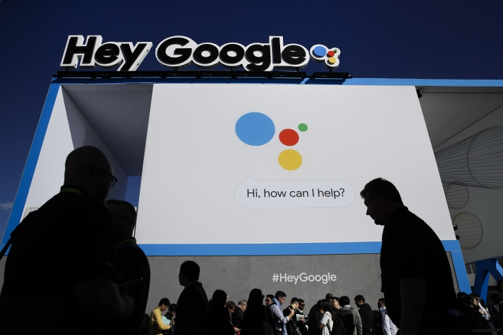 People wait in line to enter the Google booth at CES International, Wednesday, Jan. 10, 2018, in Las Vegas. (AP Photo/Jae C. Hong)