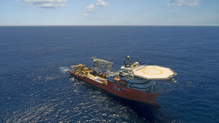 This undated handout picture released Wednesday, Jan. 10, 2018 by the company Ocean Infinity shows the vessel 'Seabed Constructor' which has been dispatched to the southern Indian Ocean to search for the wreckage of the missing plane, MH370. Malaysia's government said Wednesday it will pay U.S. company Ocean Infinity up to $70 million if it can find the wreckage or black boxes of Malaysia Airlines Flight 370 within three months, in a renewed bid to solve the plane's disappearance nearly four years ago. (Ocean Infinity via AP)