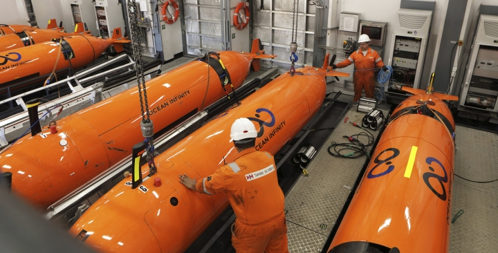 This undated handout picture released Wednesday, Jan. 10, 2018 by the company Ocean Infinity shows the Autonomous Underwater Vehicles (AUVs) which will be put in the ocean to search for the wreckage of the missing plane, MH370. Malaysia's government said Wednesday it will pay U.S. company Ocean Infinity up to $70 million if it can find the wreckage or black boxes of Malaysia Airlines Flight 370 within three months, in a renewed bid to solve the plane's disappearance nearly four years ago. (Ocean Infinity via AP)