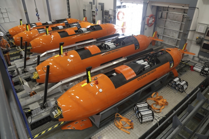 This undated handout picture released Wednesday, Jan. 10, 2018, by Ocean Infinity shows the Autonomous Underwater Vehicles (AUVs) which will be put in the ocean to search for the wreckage of the missing MH370 plane. Malaysia's government said Wednesday it will pay U.S. company Ocean Infinity up to $70 million if it can find the wreckage or black boxes of Malaysia Airlines Flight 370 within three months, in a renewed bid to solve the plane's disappearance nearly four years ago. (Ocean Infinity via AP)