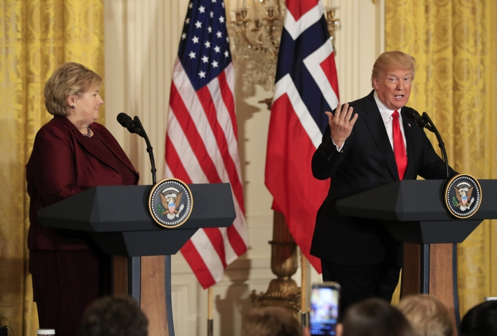 President Donald Trump speaks during a joint news conference with Norwegian Prime Minister Erna Solberg, in the East Room of the White House in Washington, Wednesday, Jan. 10, 2018. (AP Photo/Manuel Balce Ceneta)