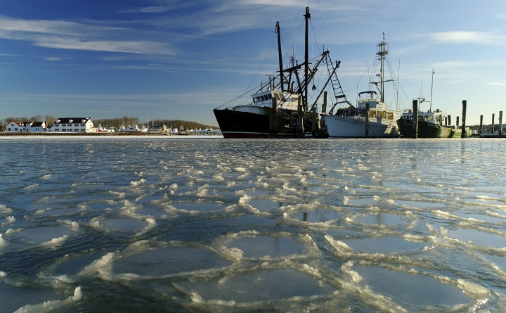 FILE - In this Jan. 7, 2018, file photo, fishing trawlers sit on the frozen harbor of Lake Montauk surrounded by thin sheets of ice in Montauk, N.Y. A quick study of the brutal American cold snap found that the Arctic blast really was a freak of nature. Climate change wasn't a factor but it is making such frigid weather spells much rarer. (AP Photo/Julie Jacobson, File)