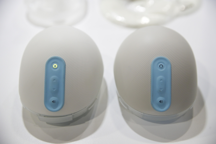 The Willow wearable breast pumps are displayed at CES International Wednesday, Jan. 10, 2018, in Las Vegas. (AP Photo/Jae C. Hong)