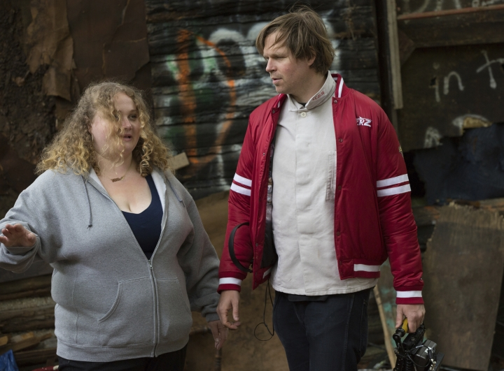 "This image released by Fox Searchlight Pictures shows Danielle Macdonald, left, with writer-director Geremy Jasper on the set of ""Patti Cake$."" Geremy is nominated for the Directors Guild of America Award for outstanding directorial achievement of a first-time feature film director. (Jeong Park/Fox Searchlight Pictures via AP)"