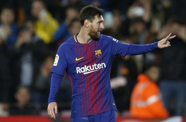 FC Barcelona's Lionel Messi celebrates after scoring during the Spanish Copa del Rey round of 16 second leg soccer match between FC Barcelona and Celta de Vigo at the Camp Nou stadium in Barcelona, Spain, Thursday, Jan. 11, 2018. (AP Photo/Manu Fernandez)