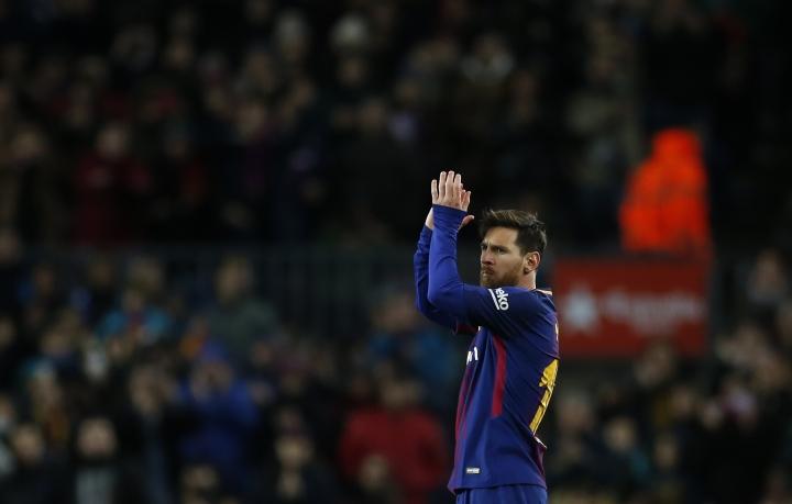 FC Barcelona's Lionel Messi applauds during the Spanish Copa del Rey round of 16 second leg soccer match between FC Barcelona and Celta de Vigo at the Camp Nou stadium in Barcelona, Spain, Thursday, Jan. 11, 2018. (AP Photo/Manu Fernandez)