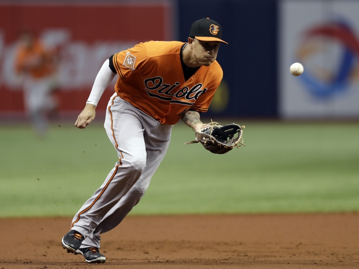 FILE - In this Sept. 30, 2017, file photo, Baltimore Orioles third baseman Manny Machado fields a ground ball by Tampa Bay Rays' Wilson Ramos during the first inning of a baseball game in St. Petersburg, Fla. The hot corner figures to be smoking Friday, Jan. 12, 2018, when players and team swap proposed salaries in arbitration. Toronto's Josh Donaldson, Washington's Anthony Rendon, Chicago Cubs' Kris Bryant and Machado were among the more than 170 players headed to the exchange. (AP Photo/Chris O'Meara, File)