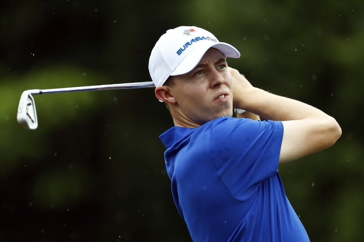 Matthew Fitzpatrick of England tees off on the 17th hole during the four-ball matches of the 2018 EurAsia Cup golf tournament at Glenmarie Golf & Country Club in Shah Alam, Malaysia, Friday, Jan. 12, 2018. (AP Photo/Sadiq Asyraf)