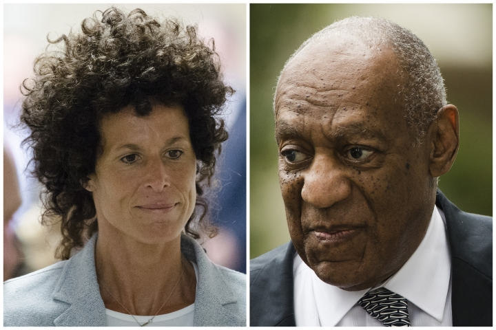 FILE – This combination of file photos shows Andrea Constand, left, walking to the courtroom during Bill Cosby's sexual assault trial June 6, 2017, at the Montgomery County Courthouse in Norristown, Pa.; and Bill Cosby, right, arriving for his sexual assault trial June 16, 2017, at the Montgomery County Courthouse in Norristown, Pa. A judge declared a mistrial June 17, 2017, when a jury was hopelessly deadlocked on charges Cosby drugged and molested Constand in 2004, but Cosby's retrial is set to begin April 2, 2018, in a vastly different cultural climate, one in which powerful men from Hollywood to the U.S. Senate are being toppled by allegations of sexual misconduct. (AP Photo/Matt Rourke, File)