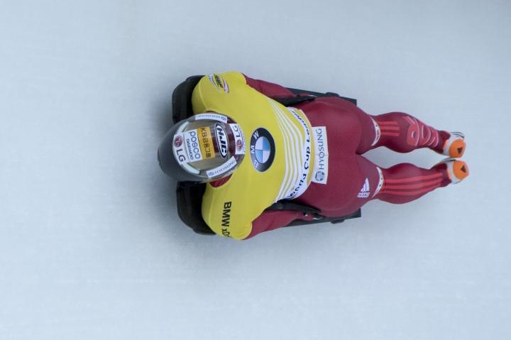 Yun Sungbin from South Korea competes during the Men's Skeleton World Cup in St. Moritz, Switzerland, on Friday, Jan. 12, 2018. (Urs Flueeler/Keystone via AP)