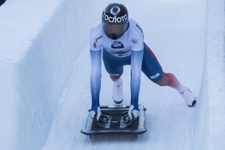 Alexander Tretiakov from Russia starts during the Men's Skeleton World Cup in St. Moritz, Switzerland, on Friday, Jan. 12, 2018. (Urs Flueeler/Keystone via AP)