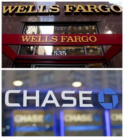 This photo combo of file images shows signage at branches of Wells Fargo and Chase banks in New York. On Friday, Jan. 12, 2018, Wells Fargo and JPMorgan Chase indicated that they expect to see significant future benefits from the recently enacted GOP tax bill, through both lower taxes and increased business. (AP Photo/CX Matiash, Frank Franklin II)