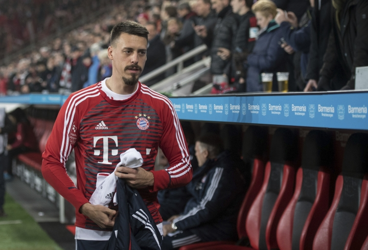 Bayern's recent addition Sandro Wagner is assigned to the bench to begin with during the German Bundesliga soccer match between Bayer Leverkusen and Bayern Munich in the BayArena in Leverkusen, Germany, Friday Jan. 12, 2018. (Marius Becker/dpa via AP)