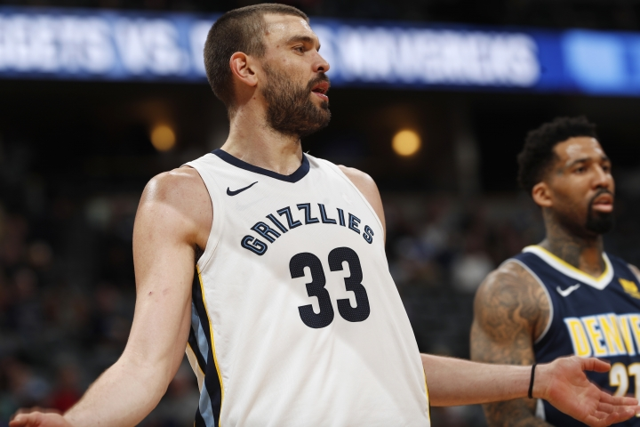 Memphis Grizzlies center Marc Gasol, of Spain, argues a call with a referee while facing the Denver Nuggets in the second half of an NBA basketball game Friday, Jan. 12, 2018, in Denver. (AP Photo/David Zalubowski)