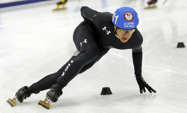 FILE - In this Dec. 15, 2017, file photo, J.R. Celski competes in the men's 1,500-meters during the U.S. Olympic short track speedskating trials in Kearns, Utah. The Americans' best hope for a medal at the Olympics is in the men's 5,000-meter relay. They're ranked third in the world behind No. 1 Canada and South Korea. Three-time Olympian Celski has a shot in the 1,500. (AP Photo/Rick Bowmer, File)