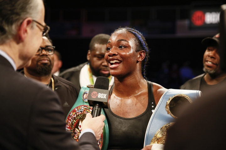 In a photo provided by Showtime, Claressa Shields is interviewed after he win over Tori Nelson during a boxing bout Friday night, Jan. 12, 2018, in Verona, N.Y. Shields scored a unanimous 10-round decision to retain her women's WBC and IBF super middleweight world titles. (Stephanie Trapp/Showtime via AP)