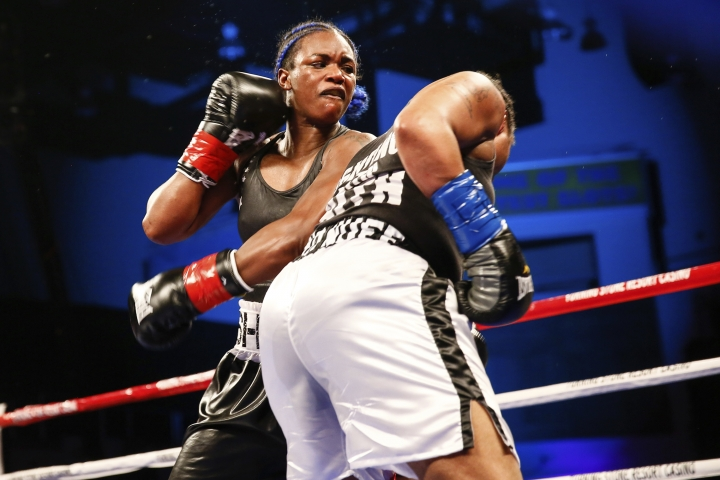 In a photo provided by Showtime, Claressa Shields follows through on a left to Tori Nelson during a boxing bout Friday night, Jan. 12, 2018, in Verona, N.Y. Shields scored a unanimous 10-round decision to retain her women's WBC and IBF super middleweight world titles. (Stephanie Trapp/Showtime via AP)
