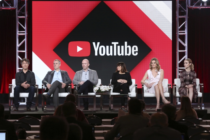 Doug Liman, from left, David Bartis, Gene Klein, Lauren LeFranc, Missy Pyle and Maddie Hasson, participate in the 'Impulse' panel during the YouTube Television Critics Association Winter Press Tour on Saturday, Jan. 13, 2018, in Pasadena, Calif. (Photo by Willy Sanjuan/Invision/AP)