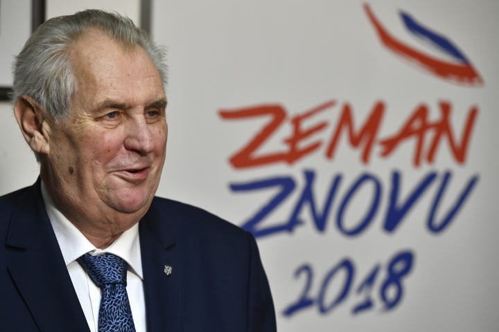 Czech President and presidential candidate Milos Zeman speaks during a press conference after the first round of presidential voting in Prague on Saturday, Jan. 13, 2018. Milos Zeman will face a runoff election in two weeks against former head of the country's Academy of Sciences Jiri Drahos. (Michal Kamaryt/CTK via AP)