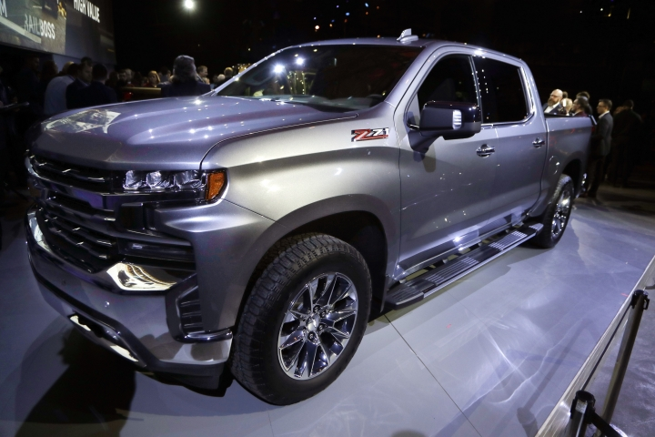 The 2019 Chevrolet Silverado High Country pickup is unveiled, Saturday, Jan. 13, 2018, in Detroit. The Silverado is the second-best selling vehicle in the U.S. and is outsold only by Ford's F-Series pickups. Big pickup truck sales rose nearly 6 percent last year to almost 2.4 million, even though total U.S. auto sales dropped 2 percent. One in every seven vehicles sold last year was a full-size pickup. (AP Photo/Carlos Osorio)
