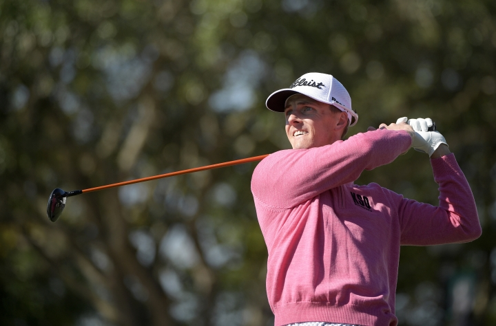 FILE - In this March 16, 2017, file photo, Blayne Barber watches his tee shot on the 11th hole during the first round of the Arnold Palmer Invitational golf tournament in Orlando, Fla. Barber had more than a false missile alarm weighing on him Saturday, Jan. 13, 2018, at the Sony Open. His caddie was in critical condition with swelling in his brain from falling on his head at a Honolulu restaurant. Barber said his caddie, Cory Gilmer, was in Waikiki Beach restaurant when he suddenly collapsed and landed on his head. Gilmer was still unresponsive when Barber left the hospital for his third round. (AP Photo/Phelan M. Ebenhack, File)