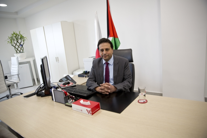 In this Wednesday, Jan. 10, 2018 photo, Palestinian cell phone provider Wataniya CEO Durgham Maraee speaks during an interview with the Associated Press at his office in the West Bank city of Ramallah. Palestinians in the West Bank are finally getting high-speed mobile data services, after a decade-long Israeli ban cost their fragile economy hundreds of millions of dollars, impeded hi-tech start-ups and denied them simple conveniences enjoyed by the rest of the world. (AP Photo/Majdi Mohammed)