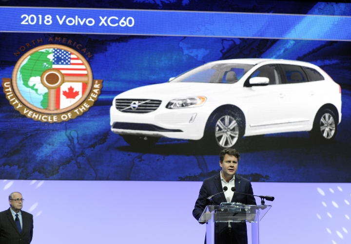 Anders Gustafsson, senior vice president Americas, Volvo Car Group, addresses the media after accepting the award for the North American Utility Vehicle of the Year, which was given to the 2018 Volvo XC60, at the North American International Auto Show, Monday, Jan. 15, 2018, in Detroit. (AP Photo/Jose Juarez)