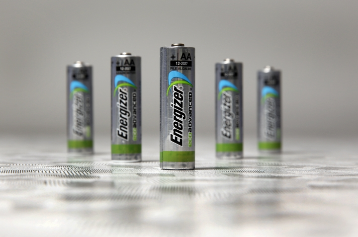 FILE - This Feb. 2, 2015, file photo shows examples of new Energizer EcoAdvanced batteries, at the company's headquarters in St. Louis. Energizer will spend about $2 billion to acquire the battery and lighting assets of Spectrum, adding the Rayovac brand to its battery and lighting division. (AP Photo/Jeff Roberson, File)