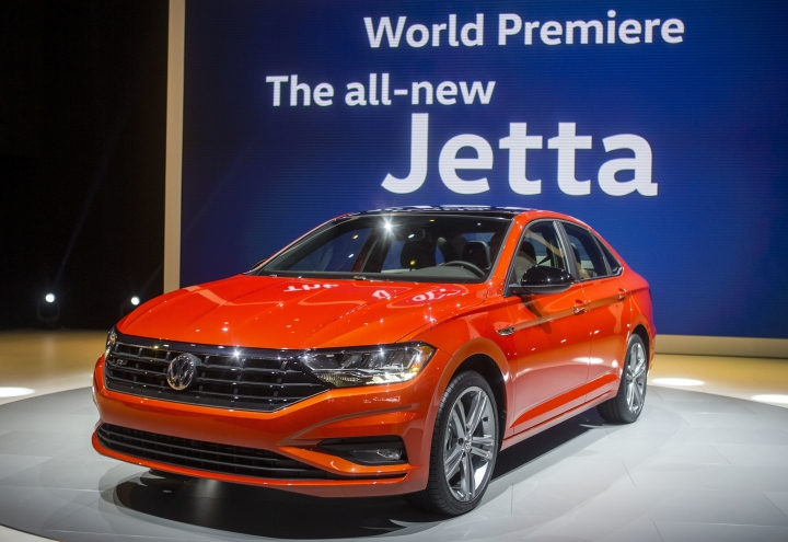 The new Volkswagen Jetta is presented at the North American International Auto Show, Monday, Jan. 15, 2018, in Detroit. (AP Photo/Tony Ding)