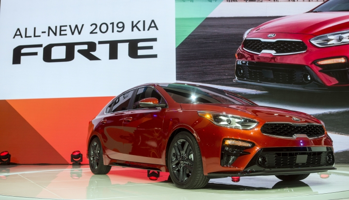 The 2019 Kia Forte sedan is presented at the North American International Auto Show, Monday, Jan. 15, 2018, in Detroit. (AP Photo/Tony Ding)