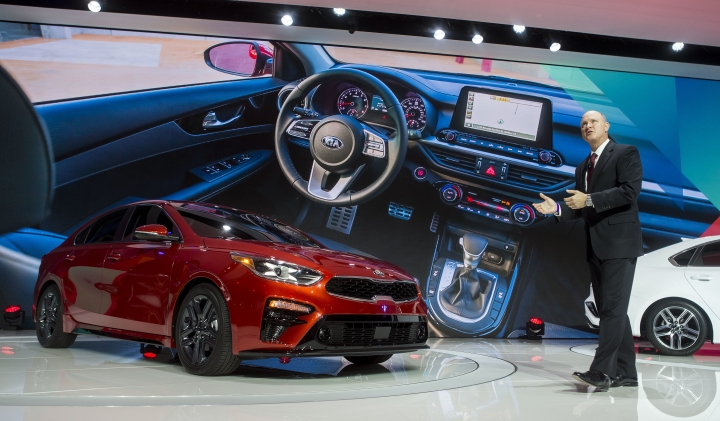 Orth Hedrick, vice president of product planning at Kia Motors America, speaks about the new Kia Forte sedan, at the North American International Auto Show, Monday, Jan. 15, 2018, in Detroit. (AP Photo/Tony Ding)