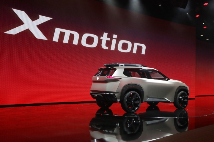 FILE - In a Jan. 15, 2018, file photo, the Nissan Xmotion concept vehicle is unveiled during the North American International Auto Show in Detroit. Japanese vehicle brands are exploring new design ideas, and figuring out what sets them apart from their U.S. and European rivals, with new prototype vehicles. Nissan, Infiniti and Lexus are all unveiling new concept cars at the Detroit auto show, which opens to the public, Saturday, Jan. 20. (AP Photo/Carlos Osorio, File)