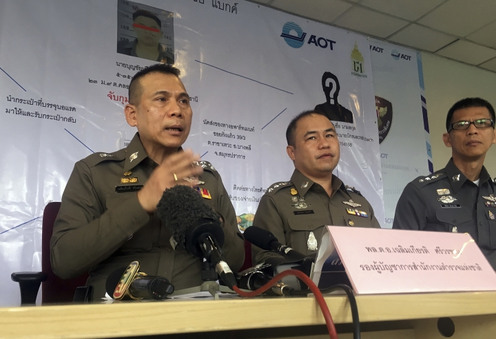 Deputy police commissioner Gen. Chalermkiat Sriworakhan leads a press conference describing the arrest of a suspected kingpin of wildlife trafficking who allegedly fueled much of Asia's illegal trade for over a decade, Saturday, Jan. 20, 2018, in Bangkok, Thailand. (AP Photo/Tassanee Vejpongsa)